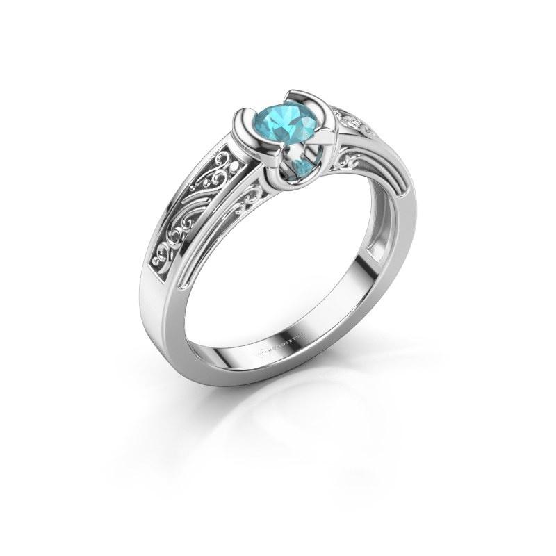 Ring Elena 585 white gold blue topaz 4 mm