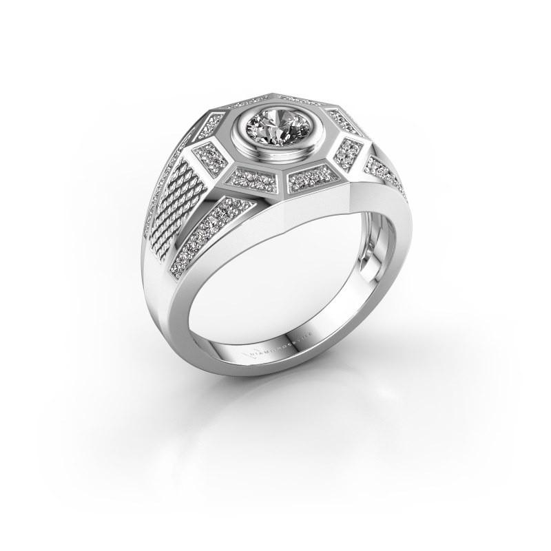 Heren ring Enzo 375 witgoud zirkonia 5 mm