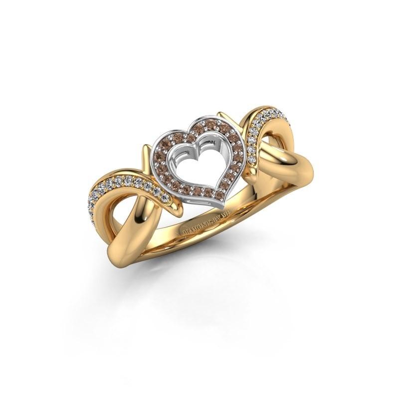 Ring Earlie 2 585 goud bruine diamant 0.244 crt