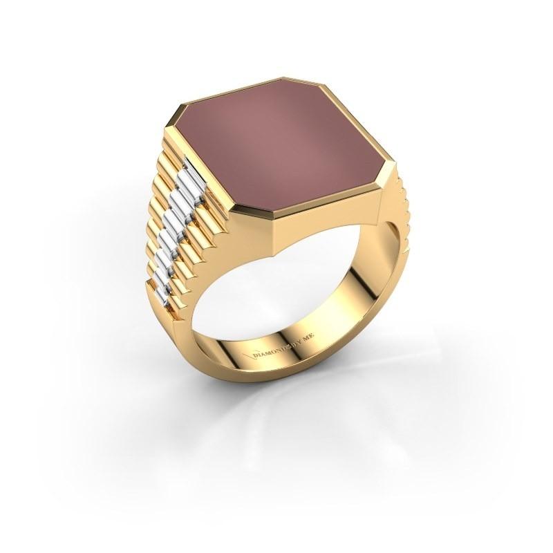 Signet ring Brent 4 585 gold carnelian 16x13 mm
