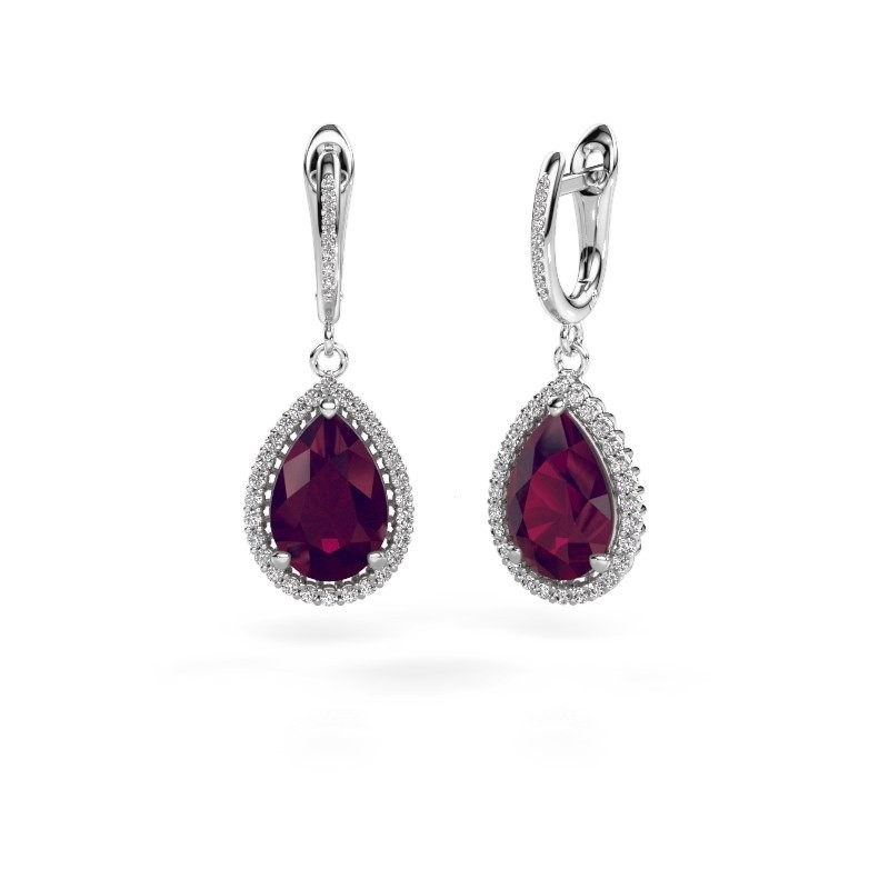 Drop earrings Hana 2 585 white gold rhodolite 12x8 mm