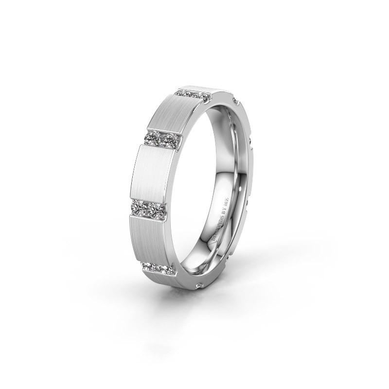 Huwelijksring WH2132L14BM 585 witgoud zirkonia ±4x2.2 mm
