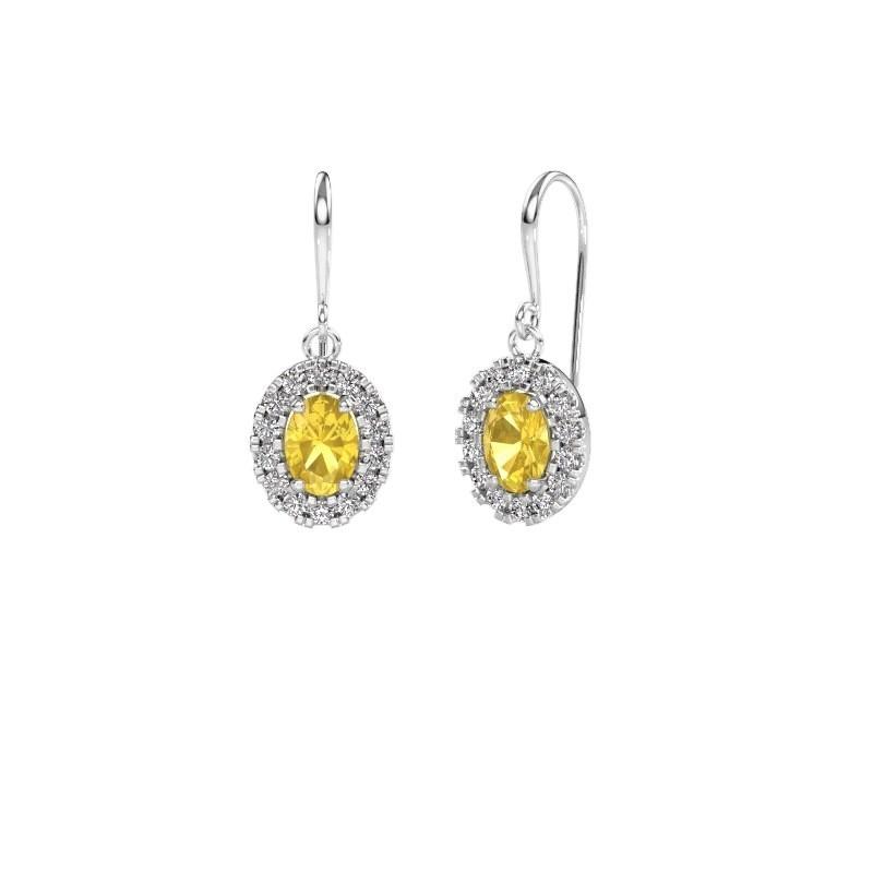 Drop earrings Jorinda 1 375 white gold yellow sapphire 7x5 mm
