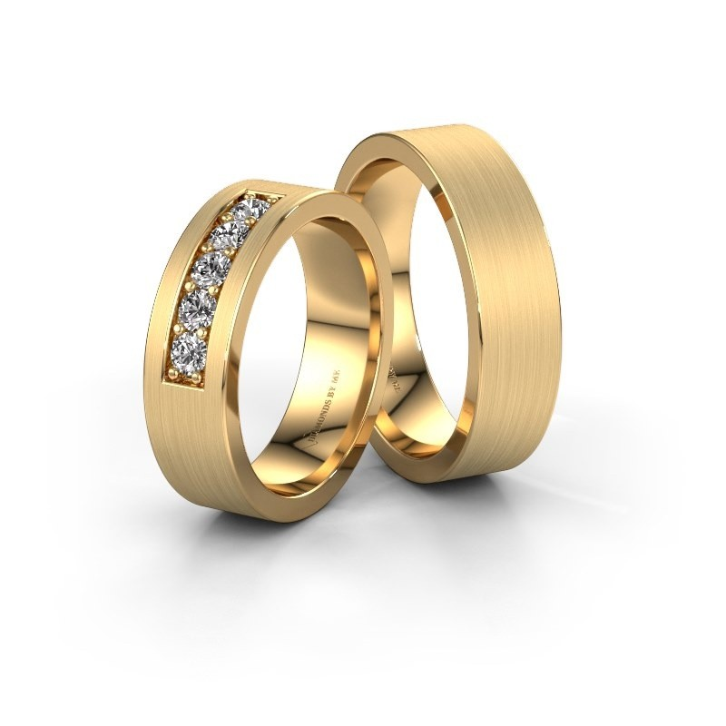 Trouwringen set WH0111LM16BM ±6x2 mm 14 karaat goud diamant 0.03 crt