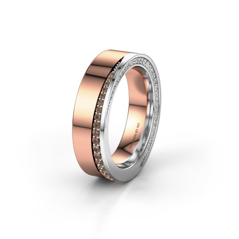 Trouwring WH1002L15DP 585 rosé goud bruine diamant ±6x2.3 mm