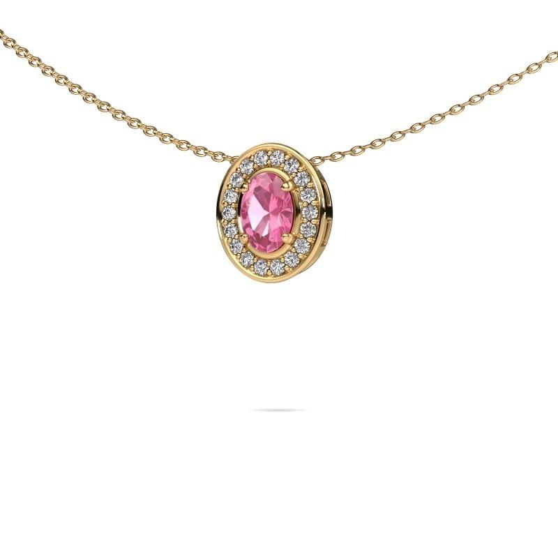 Ketting Madelon 375 goud roze saffier 6x4 mm