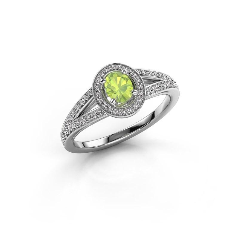 Verlovings ring Angelita OVL 950 platina peridoot 6x4 mm