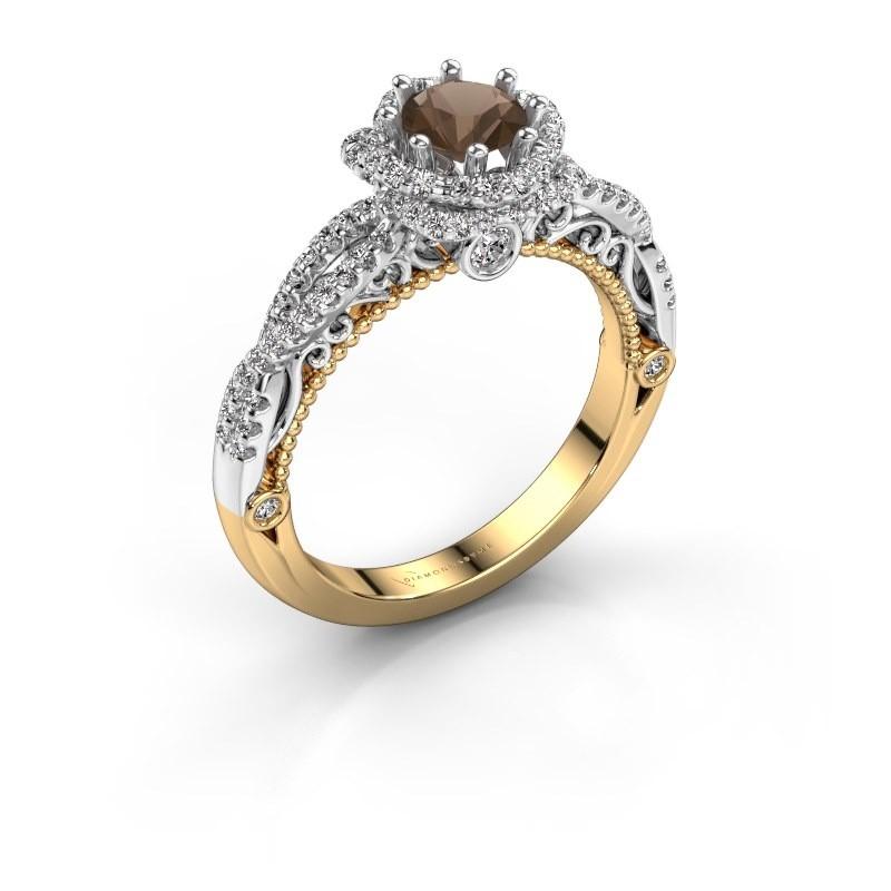 Engagement ring Lysanne 585 gold smokey quartz 5 mm