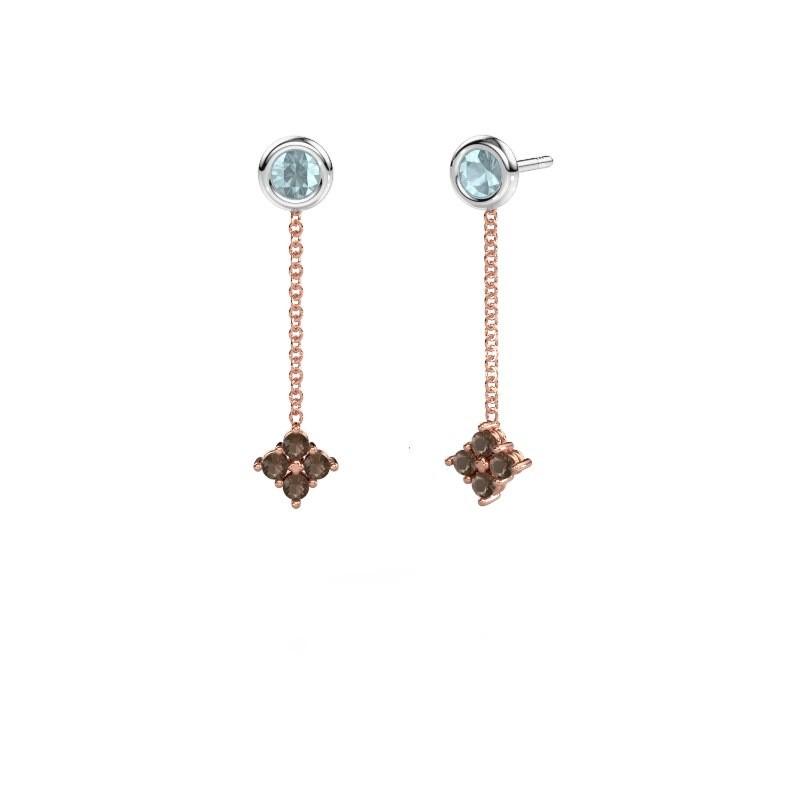 Drop earrings Ardith 585 rose gold smokey quartz 2 mm