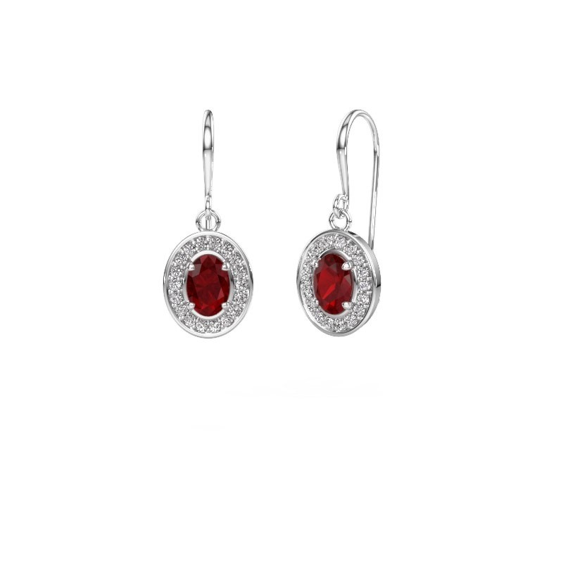 Drop earrings Layne 1 585 white gold ruby 6.5x4.5 mm