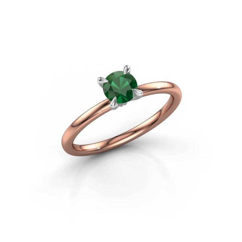 Verlovingsring Crystal RND 1 585 rosé goud smaragd 5 mm