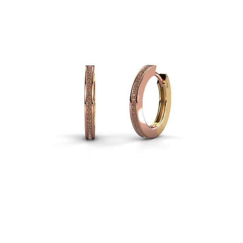 Creolen Renee 4 12 mm 585 rosé goud bruine diamant 0.38 crt