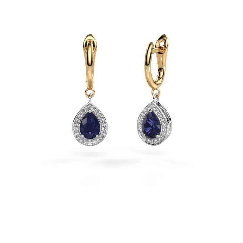 Drop earrings Ginger 1 585 white gold sapphire 7x5 mm