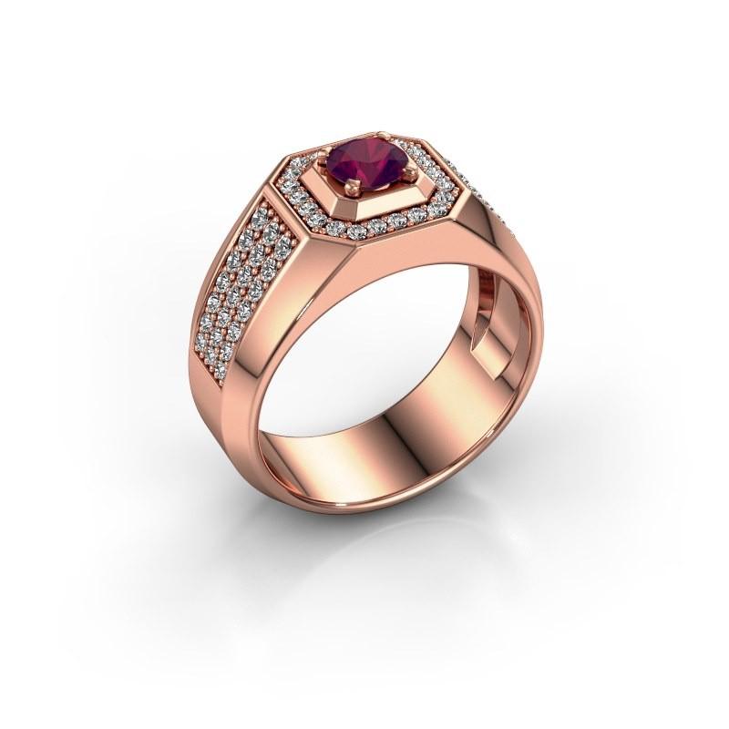 Heren ring Pavan 375 rosé goud rhodoliet 5 mm