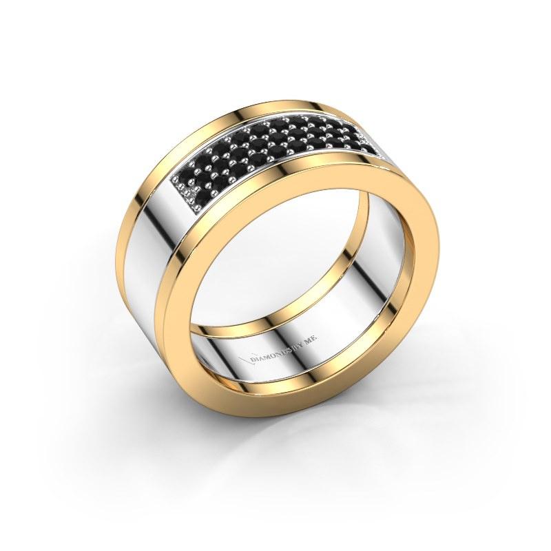 Ring Marita 3 585 witgoud zwarte diamant 0.348 crt