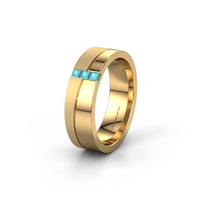 Wedding ring WH0906L16A 585 gold blue topaz ±0.24x0.07 in