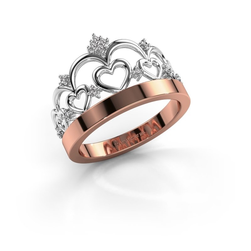 Ring Kroon 1 585 rosé goud zirkonia 1 mm