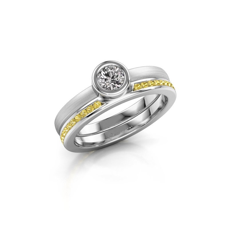 Ring Cara 585 white gold yellow sapphire 4 mm