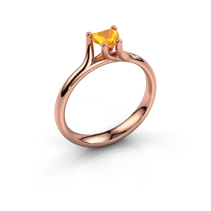 Engagement ring Dewi Heart 585 rose gold citrin 5 mm