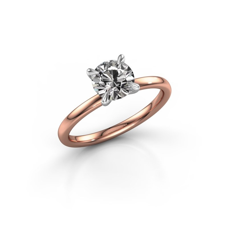 Verlovingsring Crystal RND 1 585 rosé goud diamant 1.00 crt