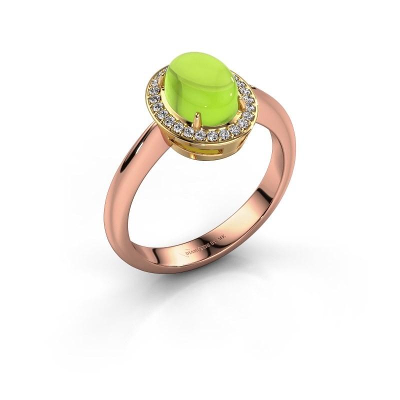Ring Kristian 585 rosé goud peridoot 8x6 mm