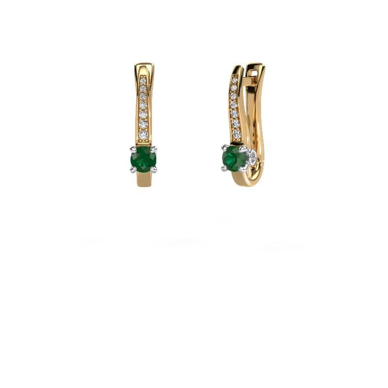 Oorbellen Valorie 585 goud smaragd 4 mm