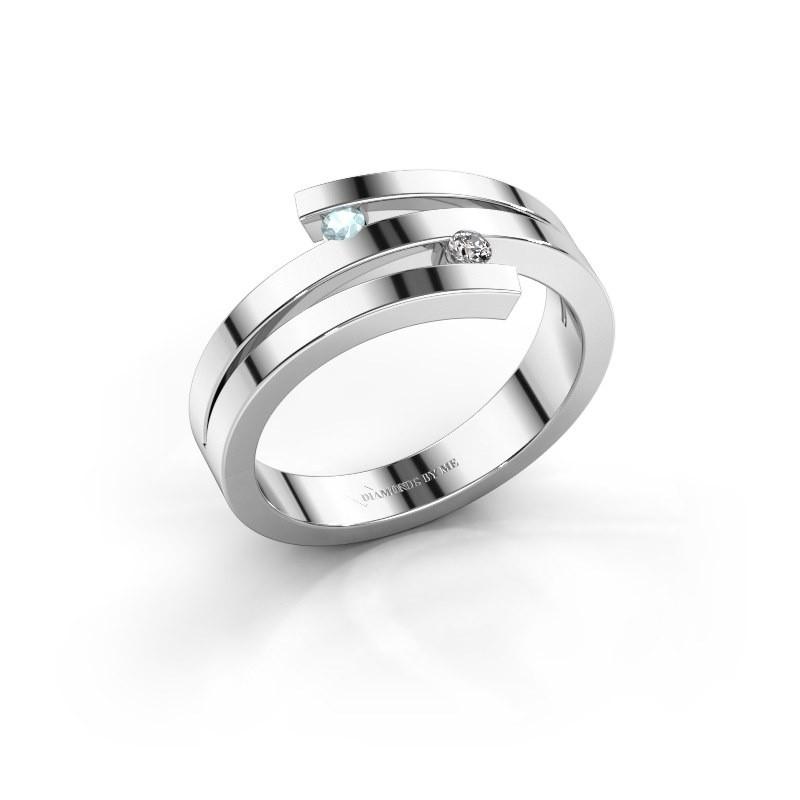 Ring Roxane 585 witgoud aquamarijn 2 mm