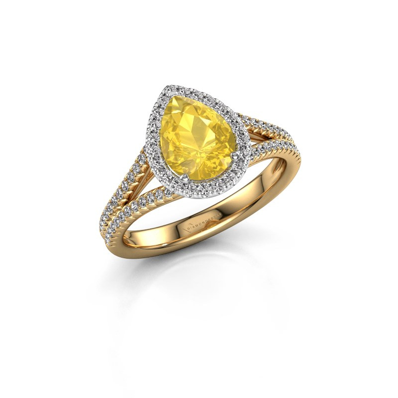 Verlovingsring Verla pear 2 585 goud gele saffier 8x6 mm