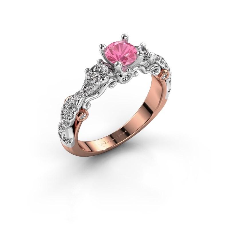 Verlovingsring Kourtney 585 rosé goud roze saffier 5 mm