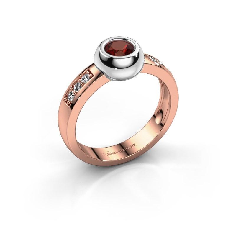Ring Charlotte Round 585 rosé goud granaat 4.7 mm
