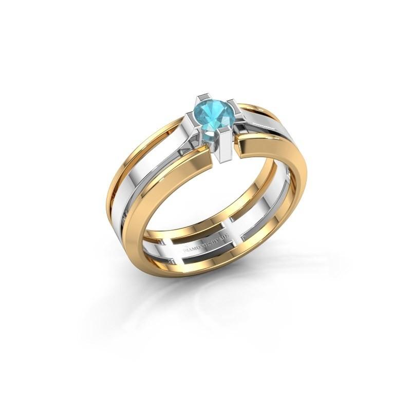 Heren ring Sem 585 witgoud blauw topaas 4.7 mm
