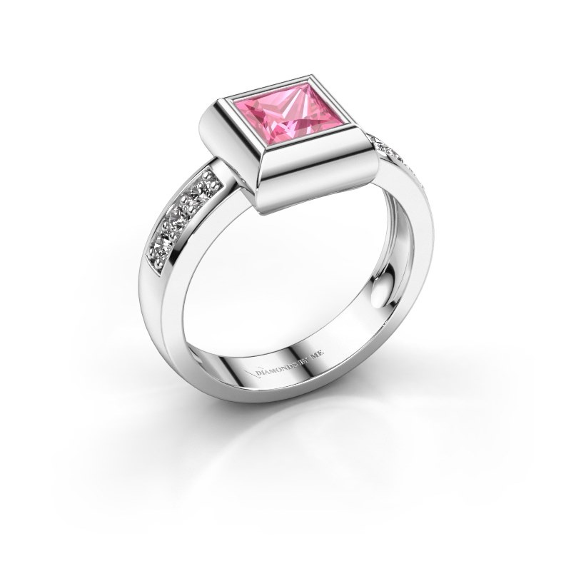 Ring Charlotte Square 925 silver pink sapphire 5 mm