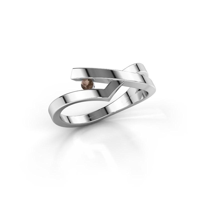 Ring Pamella 585 witgoud rookkwarts 2.2 mm
