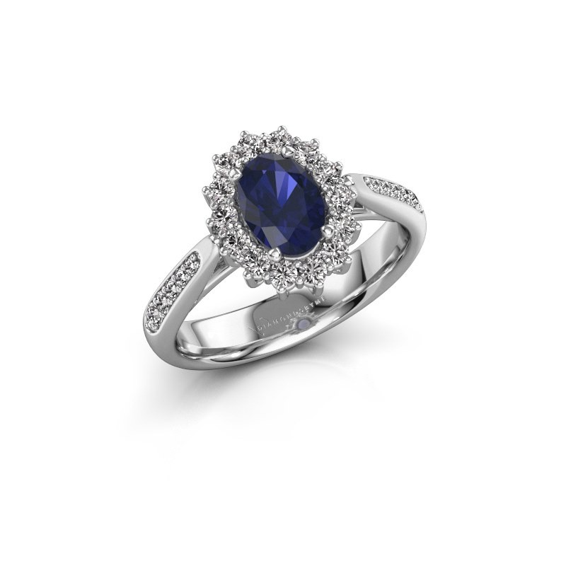 Engagement ring Margien 2 585 white gold sapphire 7x5 mm