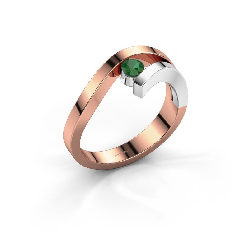 Ring Evalyn 1 585 rosé goud smaragd 3.7 mm