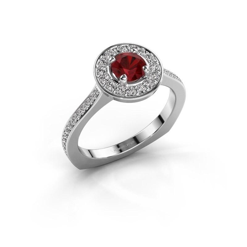 Ring Kanisha 2 925 zilver robijn 5 mm