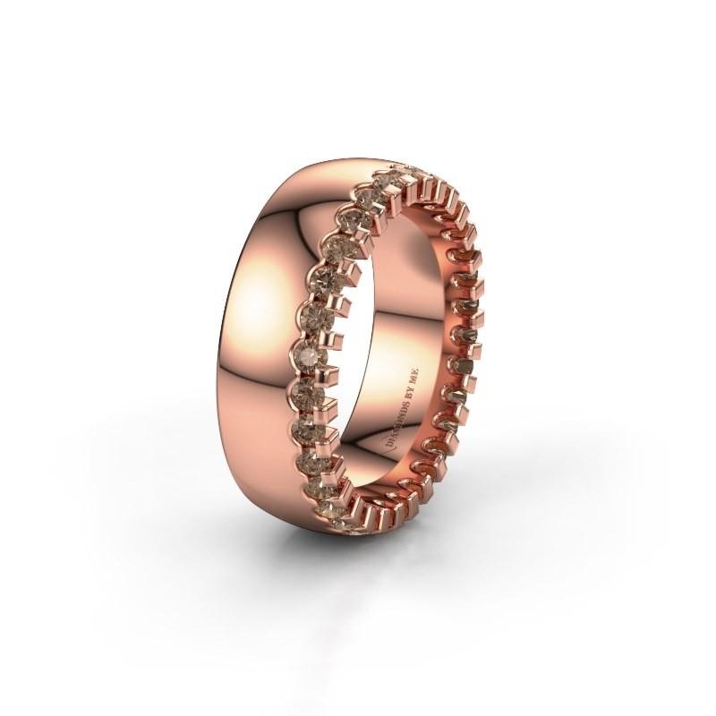 Trouwring WH6120L27C 375 rosé goud bruine diamant ±7x2.2 mm