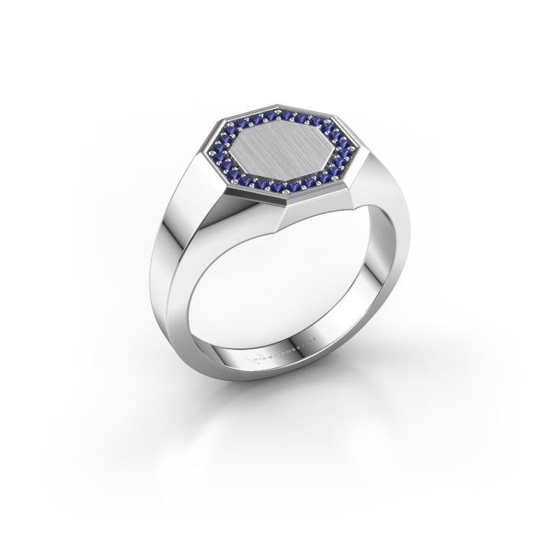 Heren ring Floris Octa 2 925 zilver saffier 1.2 mm
