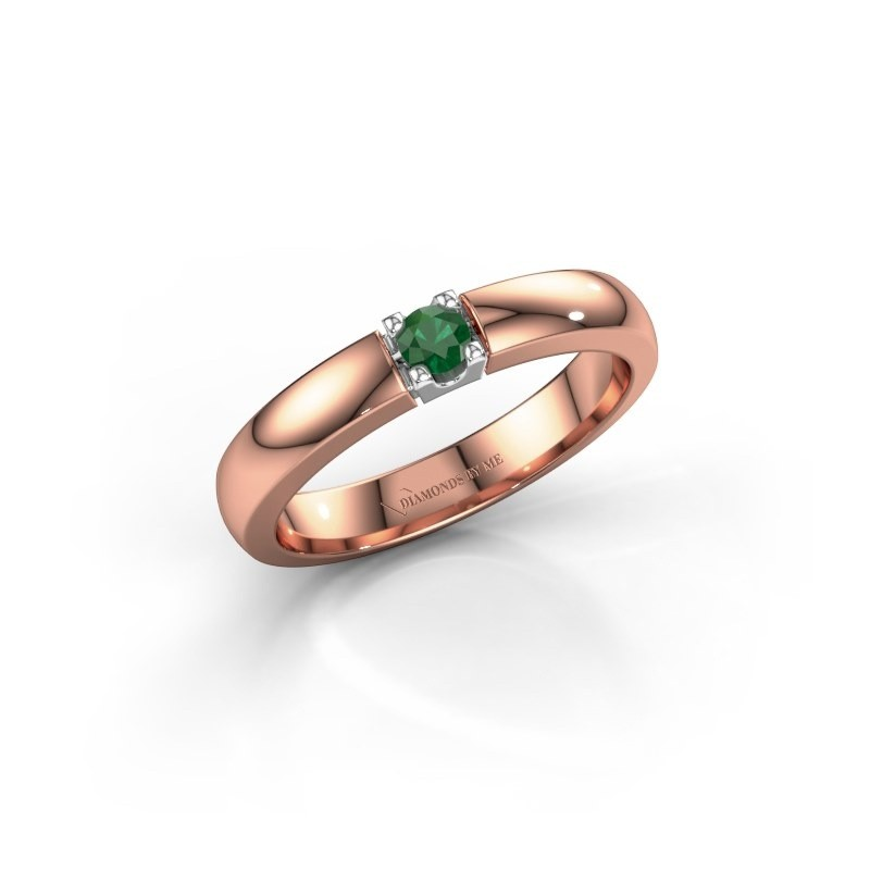 Engagement ring Rianne 1 585 rose gold emerald 3 mm