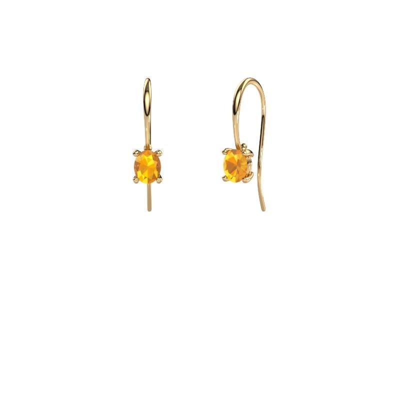 Oorhangers Cleo 585 goud citrien 6x4 mm