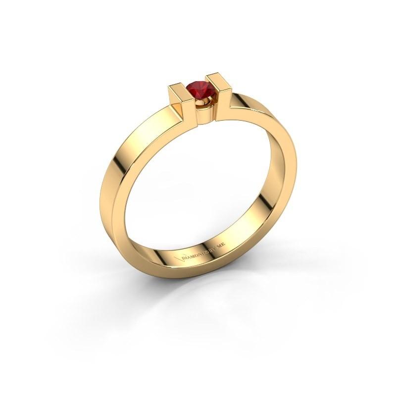 Verlovingsring Lieve 1 375 goud robijn 3 mm