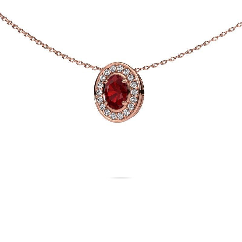 Ketting Madelon 375 rosé goud robijn 6x4 mm