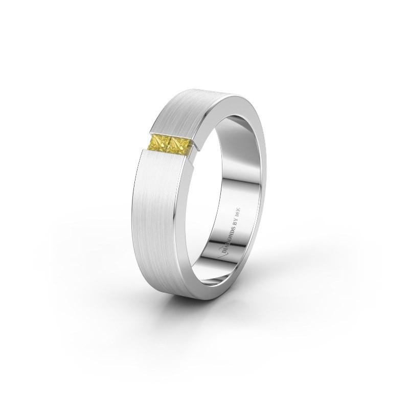 Trouwring WH2136L15E 925 zilver gele saffier ±5x2.6 mm
