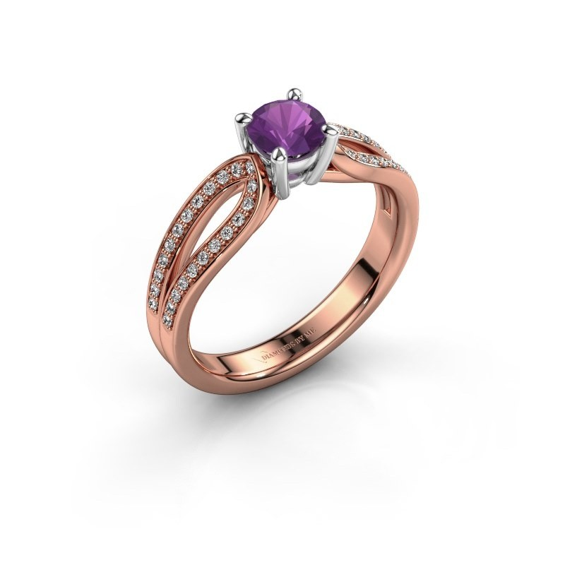 Engagement ring Antonia 2 585 rose gold amethyst 5 mm