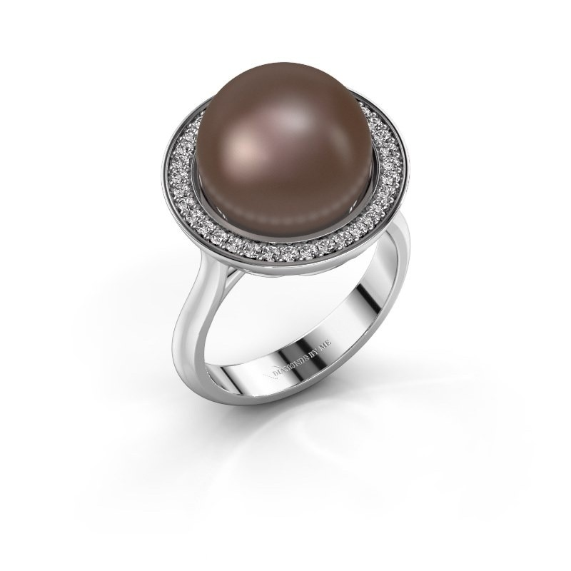 Ring Grisel 375 witgoud bruine parel 12 mm