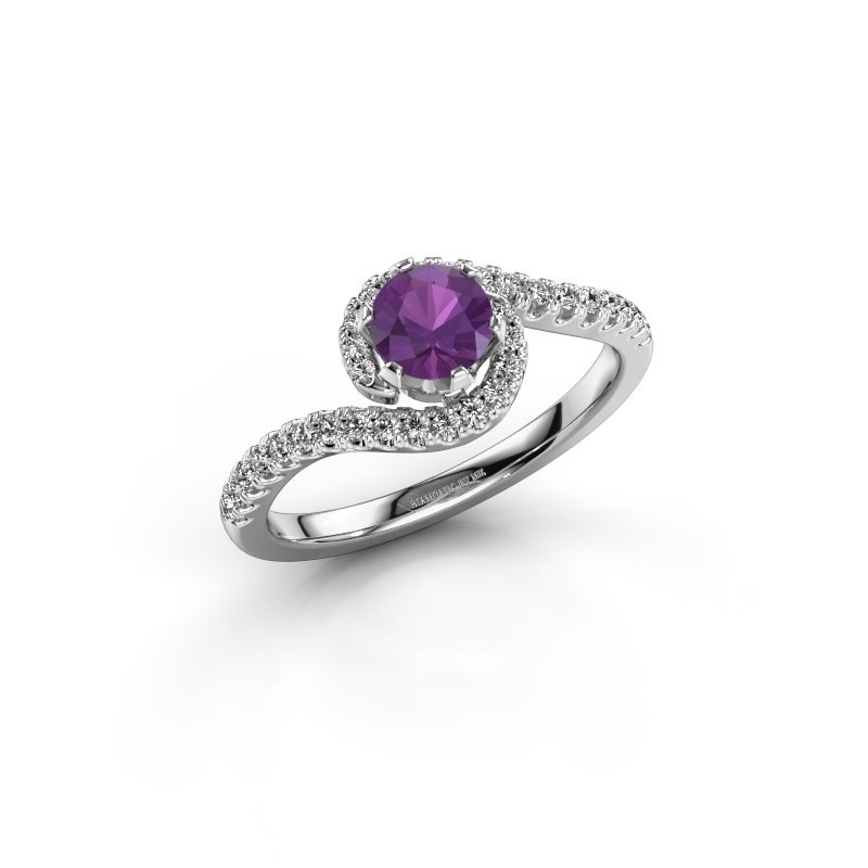 Engagement ring Elli 585 white gold amethyst 5 mm