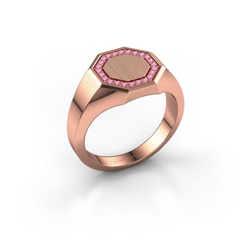 Heren ring Floris Octa 2 375 rosé goud roze saffier 1.2 mm