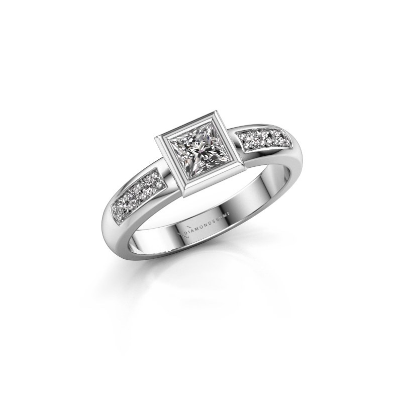 Stacking ring Lieke Square 925 silver diamond 0.52 crt