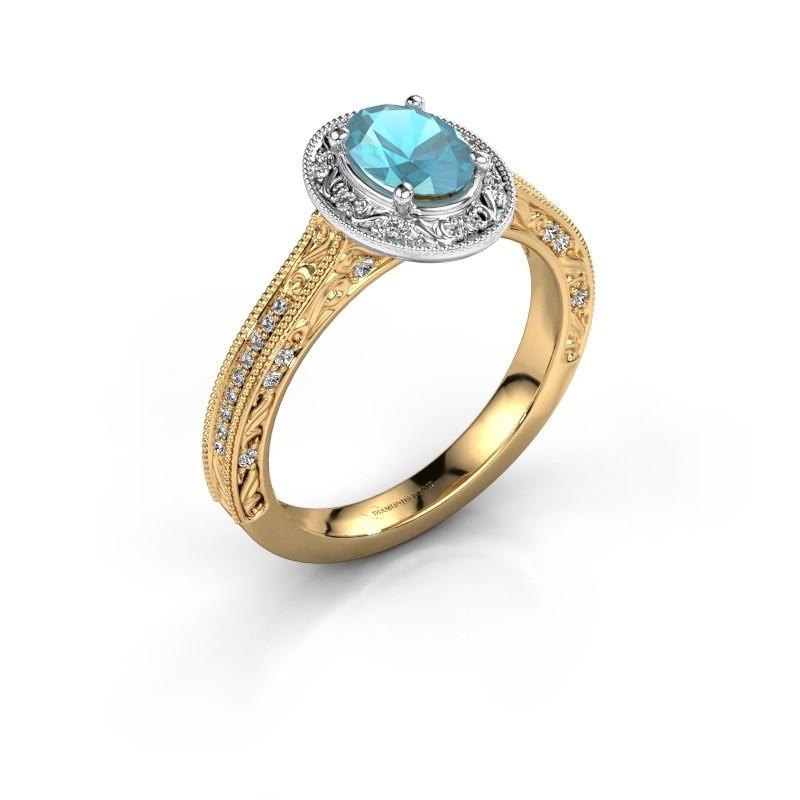 Verlovingsring Alice OVL 585 goud blauw topaas 7x5 mm