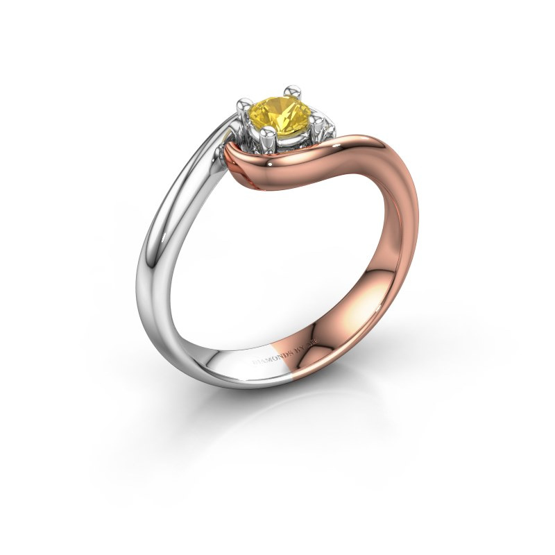 Ring Linn 585 rosé goud gele saffier 4 mm